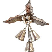 1940's Taxco Christmas Holly & Bells Brooch by Damaso Gallegos, Book Piece