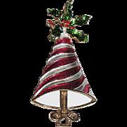 RARE Mylu Peppermint Stripe & Holly Christmas Tree Pin ~ Book Piece