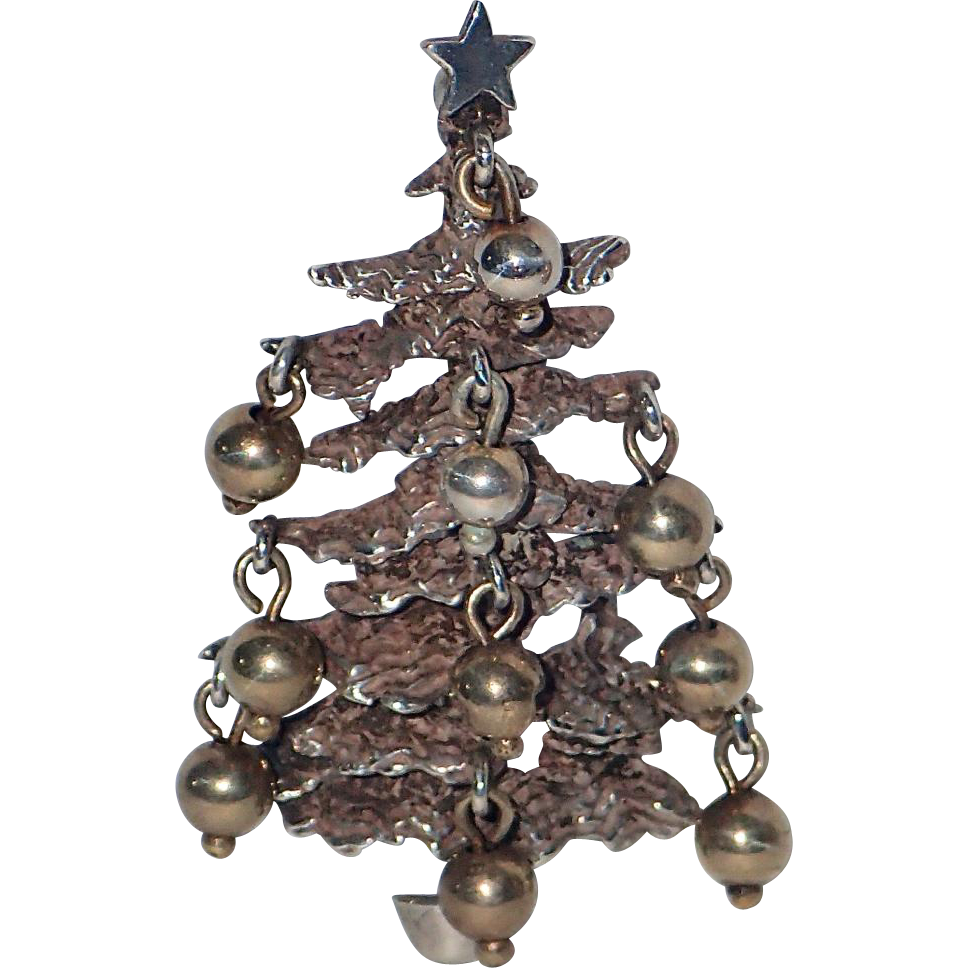 Rare Cini Sterling Brutalist Dangling Ornaments Christmas Tree Pin ~ Book  Piece