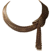 SCARCE Vendome 1960's Runway Couture Gold Plated Fan and Tassels Necklace