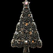 RARE Pakula Japanned Gunmetal Hematite 3D Christmas Tree Pin ~ Book Piece
