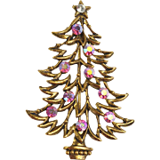 RARE J.J. Jonette Jewelry Pink Crystal Christmas Tree Pin