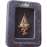RARE Attwood & Sawyer of London Ribboned Christmas Tree Pin, Book Piece in Box