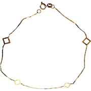 """Italy 14K Gold Vintage 1970's Large Bracelet or Anklet, 8.5"""" L"""