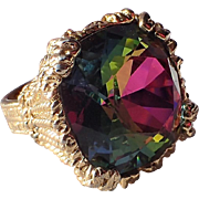 RARE Napier 1965 Watermelon Hope Diamond Cocktail Ring, Book Piece
