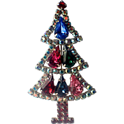 Hobé Tear Drop Aurora Borealis Sparkle Vintage 80's Christmas Tree Pin