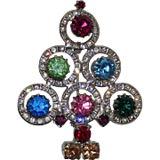 Mid-Century Channel Set Rhinestone Circle Christmas Tree Pin, Book Piece