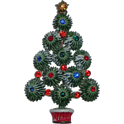 Hedy Starburst Snow-y Enameled Rhinestone Christmas Tree Pin, Book Piece