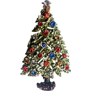 ART Signed Snow-y Enameled Rhinestone Christmas Tree Pin ~ Book Piece