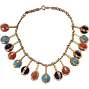 RARE Accessocraft N.Y.C. Egyptian Revival Lapis, Coral, Turquoise Glass Necklace