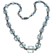 Deltah 1930's Art Deco Crystal Diamond Cut Barrel, Sterling Necklace 18""