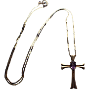 Amethyst 10K Gold Cross Pendant; 14K Gold Italy Chain Necklace