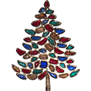 SCARCE Marvella 1966 Vintage Christmas Tree Pin, Book Piece