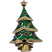 Kenneth Jay Lane for The Franklin Mint 1972 Christmas Tree Pin, Book Piece