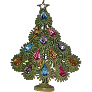 RARE Lisner Signed Mid-Century Enameled Christmas Tree Pin, Book Piece