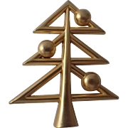 SCARCE Molyneaux Paris Gilt 1975 Modernist Christmas Tree Pin