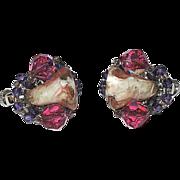 RARE Vendome Pink Art Glass Tulip, Crystal & Rhinestone Earrings