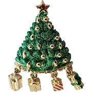 Danecraft Signed Dangling Presents Christmas Tree Pin, Book Piece