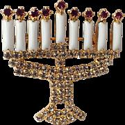 Dominique Signed Hanukkah Menorah Rhinestone Brooch
