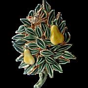 RARE Benedikt N.Y. 3D Patridge in a Pear Tree Christmas Pin, Book Piece