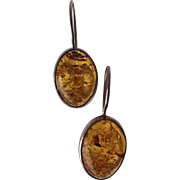 Vintage Honey Amber Sterling Oval 3D Earrings, Pierced