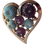 Boucher 1955 3D Heart Brooch, Molded Glass and Rhinestones