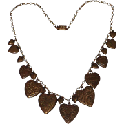 Pididdly Links 1970's Art Nouveau Revival Heart Charms Necklace