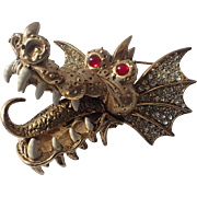 Hattie Carnegie Signed 3D Dragon Brooch, 1950's, Pristine