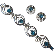 Napier 1950's Hand Twisted Silver Plated Aqua Rhinestone Bracelet, Earrings, Book Piece
