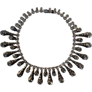 SCARCE Vendome 1950's Crystal Rhinestone Brass Filigree Cone Runway Necklace