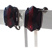 Art Deco Sterling, Hexagon Red Glass Earrings