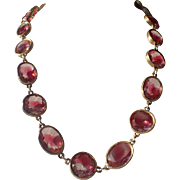 Accessocraft N.Y.C. 1960's Pink Clear Givre Glass Sautoir Necklace