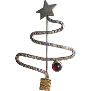 Donna Burdic Signed Sterling Silver Garnet Christmas Tree Pin, Book Piece