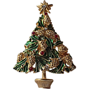 SCARCE Avante Signed Pine Cone Christmas Tree Pin, Book Piece