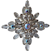 Snowflake Crystal Rhinestone AB Cut Glass Brooch
