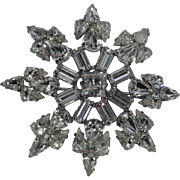 Weiss Snowflake Rhinestone Figural Brooch