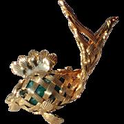 RARE Napier Fish, Jade Glass Brooch
