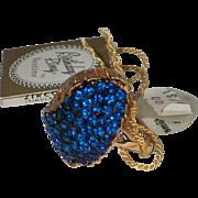 Vendome 1965 December Blue Zircon Rhinestone Birthday Cocktail Ring, MINT