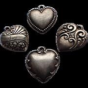 Antique Art Nouveau Puffy Heart Sterling Silver Charm(s)