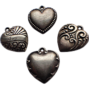 Antique Art Nouveau Puffy Heart Sterling Silver Charm(s)