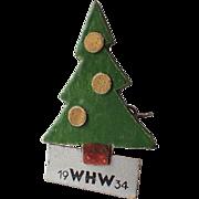 SCARCE German WHW Winterhilfswerk Wood WWII Christmas Tree Pin