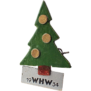 SCARCE German WHW Winterhilfswerk Wood WWII Christmas Tree Pin