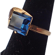 Vargas Mid Century Modern 18K Gold Plate Blue Stone Ring, Size 6