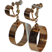 Napier 1970's Wide Gold Plated Hoop Earrings