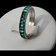 Trifari Sterling Emerald Baguette Eternity Ring, Size 6