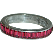 Trifari Sterling Red Baguette Eternity Ring, Size 7