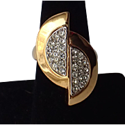 Napier 1970's Split Oval Rhinestone Cocktail Ring, Size 7