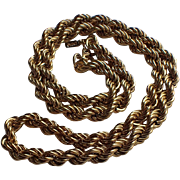 """Monet 1970's 18"""" Gold Plated Rope Chain Necklace"""