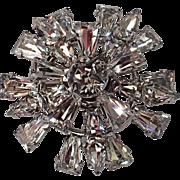 Keystone Clear Rhinestone Snowflake 3D Brooch
