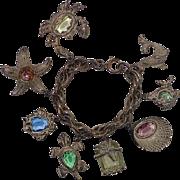 Ocean Motif Sea Creature Glass Whitewash Vintage Charm Bracelet